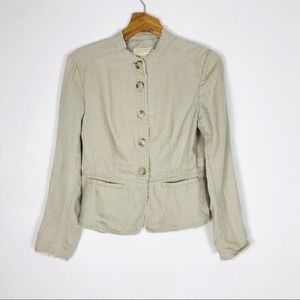 Michael Kors 100% linen tan tailored jacket blazer